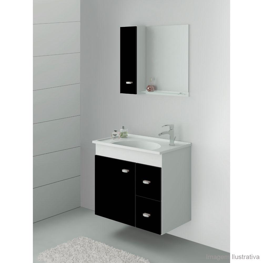 Gabinete Com Cuba E Espelheira 45x46x45 Concept Plus Preto E Cristal Pictures -> Banheiro Decorado Com Luminaria