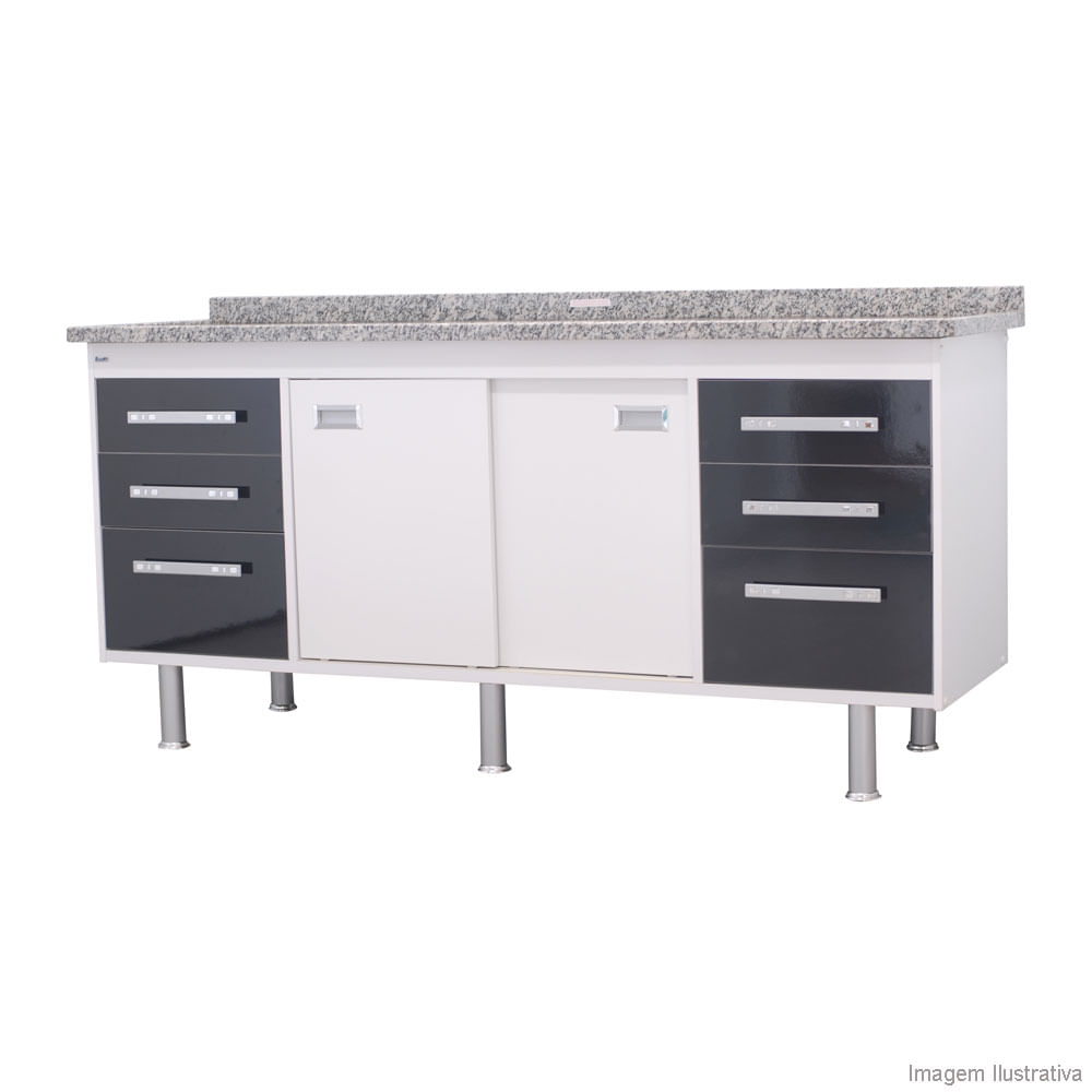 Gabinete para Pia Ravenna Branco com Preto 85,5×174 Bonatto  Telhanorte # Gabinete De Banheiro Na Telha Norte