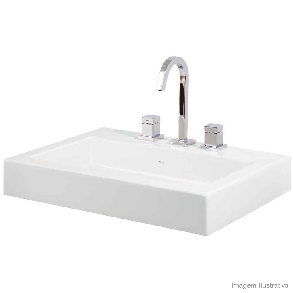 Cuba para banheiro de apoio retângular 60x45cm L19 gelo Deca  Telhanorte -> Cuba Para Banheiro Suspensa Retangular Multiuso Gelo Deca