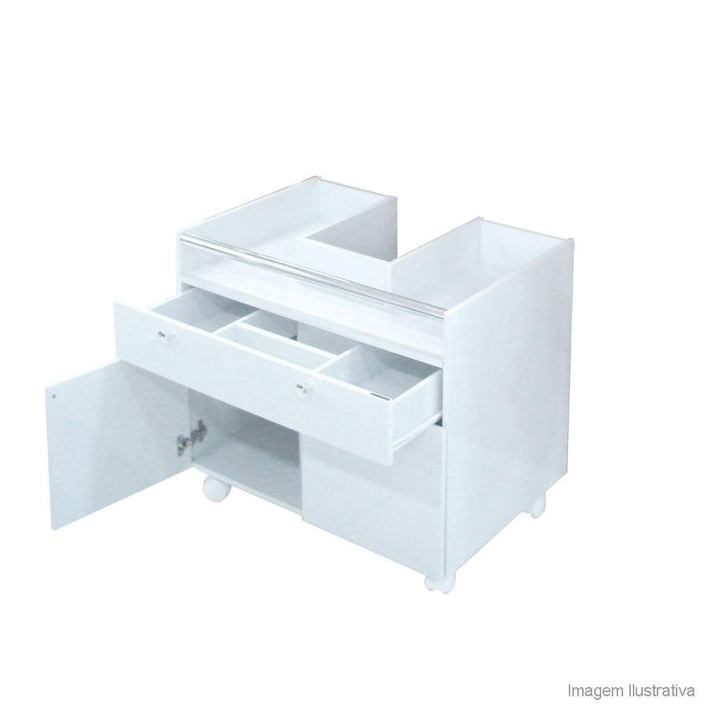 Módulo para encaixe em lavatório com coluna Fit branco Compace  Telhanorte -> Gabinete Para Banheiro Pequeno Telhanorte