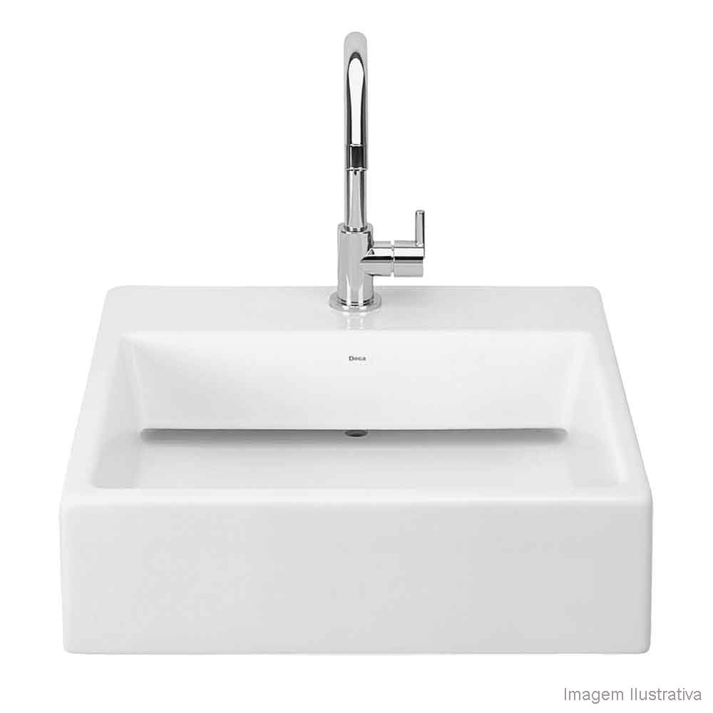 Cuba para banheiro de apoio quadrada 46x46cm L86 gelo Deca  Telhanorte -> Cuba De Apoio Para Banheiro Quadrada