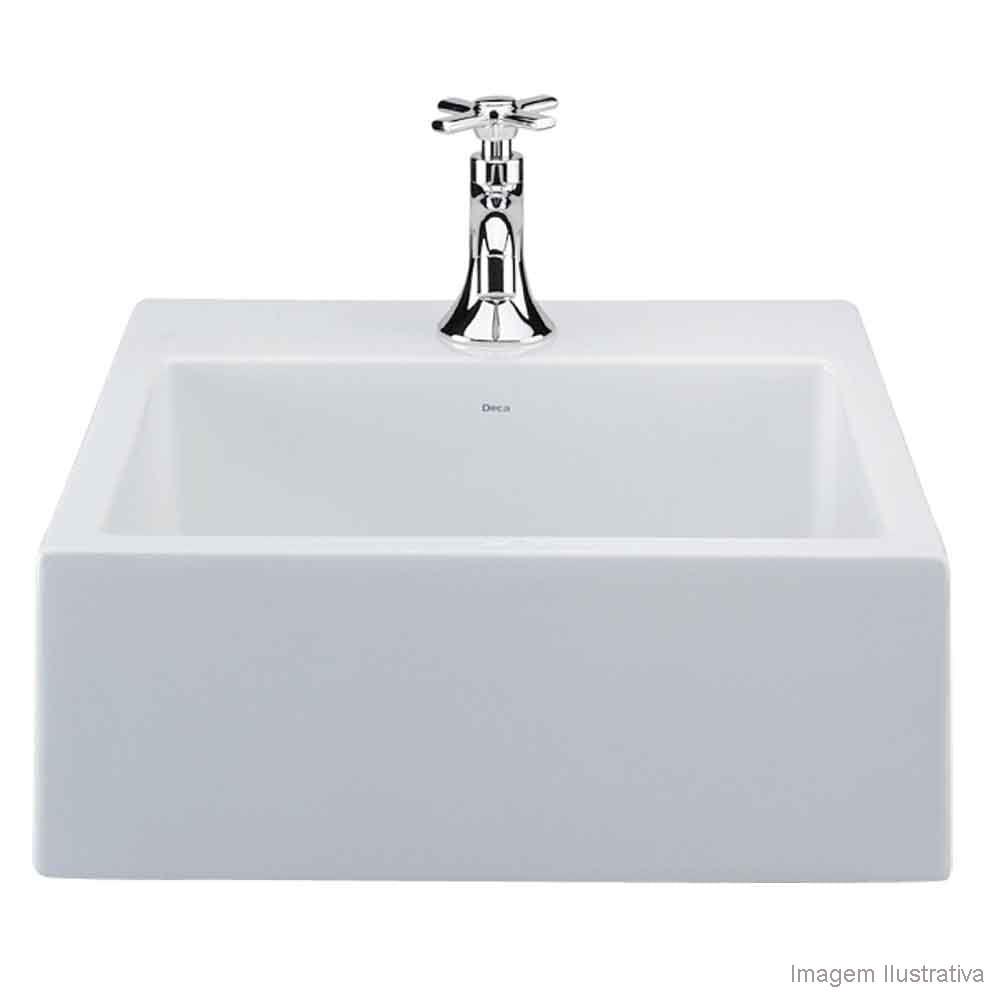 Cuba para banheiro de apoio quadrada 41x41cm L73 gelo Deca  Telhanorte -> Cuba Pia Banheiro Deca