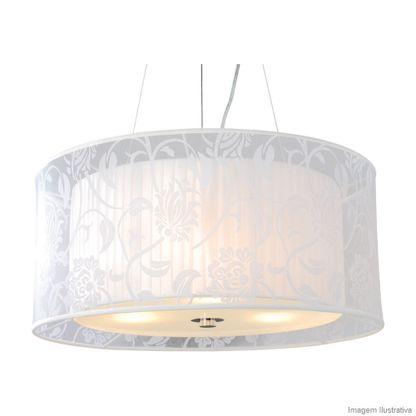 Lustre de tecido Primavera para 3 lâmpadas E27 60W branco Taschibra