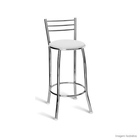 Banqueta Napoles 70cm cromada com assento branco Metal Show