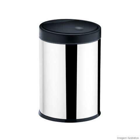 Lixeira de inox com tampa preta Brinox
