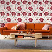 Papel-de-parede-floral-vermelho-prata-e-bege-Corium-53cm-x-10m-Muresco