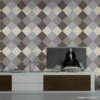Papel-de-parede-losangos-bege-prata-e-marrom-Allegra-53cm-x-10m-Muresco