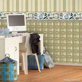 Papel-de-parede-xadrez-bege-marrom-e-azul-Casa-Bella-vinilizado-53cm-x-10m-Muresco