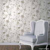 Papel-de-parede-floral-com-fundo-gelo-e-passaros-marrom-52cm-x-10m-vinilico-Revex