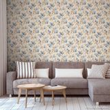 Papel-de-parede-floral-azul-e-marrom-8114-52cm-x-10m-vinilico-Revex
