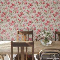 Papel-de-parede-floral-rosa-e-marrom-8115-52cm-x-10m-vinilico-Revex