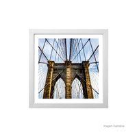 Quadro-decorativo-Brooklyn-Bridge-33x33cm-branco-Infinity