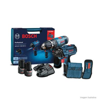 Kit parafusadeira a bateria GDR120-2 Li furadeira de impacto GSB1200-2 Li azul Bosch
