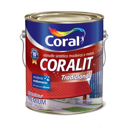 Esmalte sintético Coralit brilhante 3,6 litros vermelho Coral