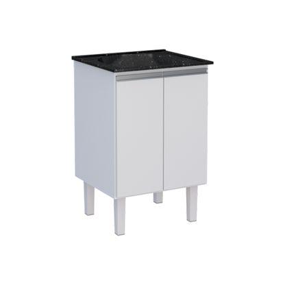 Gabinete de lavanderia Jaboti 2 portas com tanque 60x50cm branco e preto Cozimax