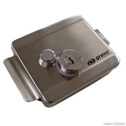 Fechadura elétrica com botão abertura externa e interna 12V 1A cromada Gravo