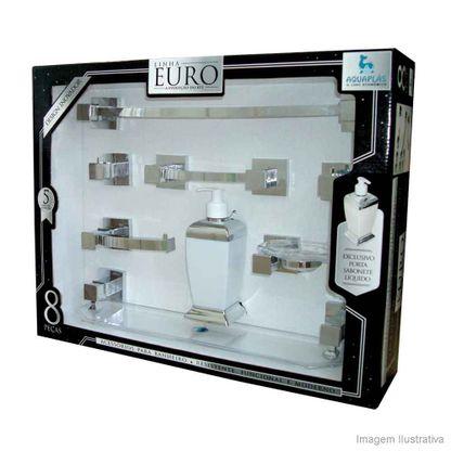 Kit de acessórios para banheiro com 8 peças Euro cristal Aquaplás