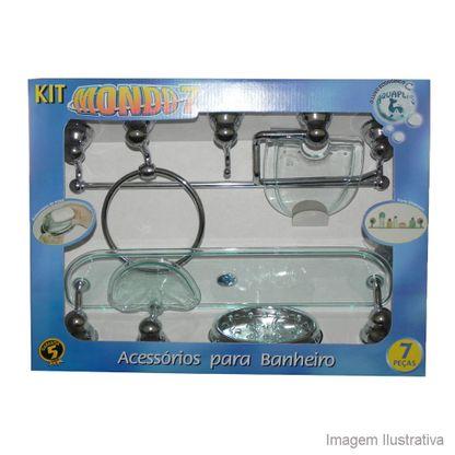 Kit de acessórios para banheiro com 7 peças Mondo verde Aquaplás