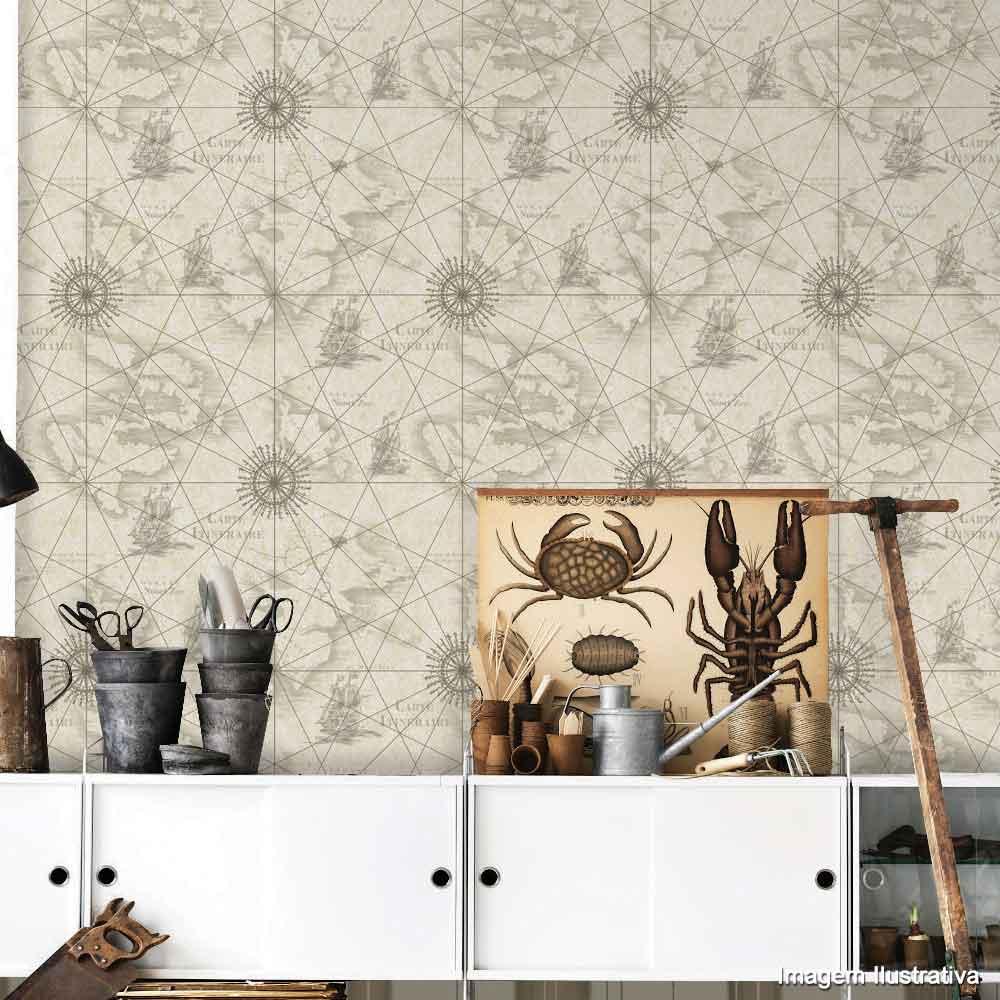 Extremamente Papel de parede carta gráfica bege e marrom Allegra vinílico 53cm  TS69