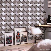 Papel-de-parede-geometrico-3D-cinza-com-preto-Allegra-53cm-x-10m-Muresco