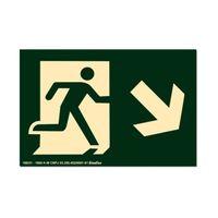 Placa-de-sinalizacao---SAIDA-DE-EMERGENCIA---seta-inclinada-para-baixo-a-direita-verde-Sinalize