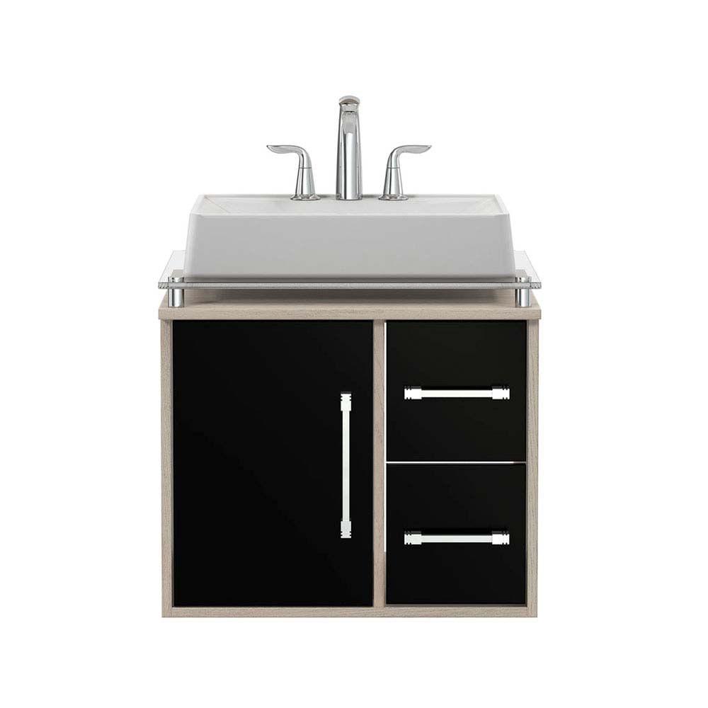 Gabinete Para Banheiro Centauri 60x44x56 5cm Com Tampo De Vidro E