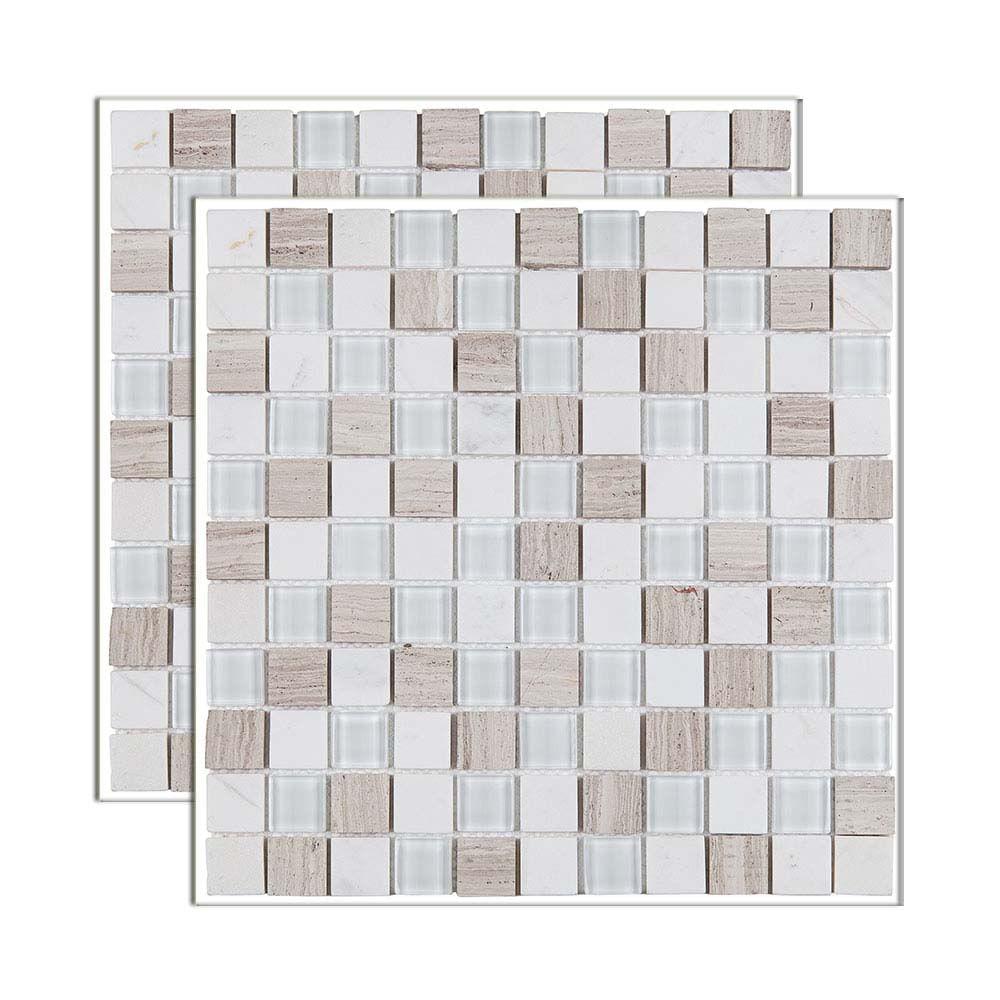 Pastilha De Pedra Matisse Placa 29x29cm Bege MT711 Glass Mosaic   Telhanorte
