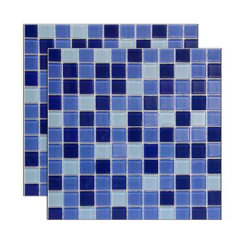 Pastilha de vidro Miscelanea placa 29,2x29,2cm azul e branco Glass Mosaic