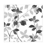 Papel-de-parede-folhagem-preto-prata-e-branco-Allegra-vinilico-53cm-x-10m-Muresco