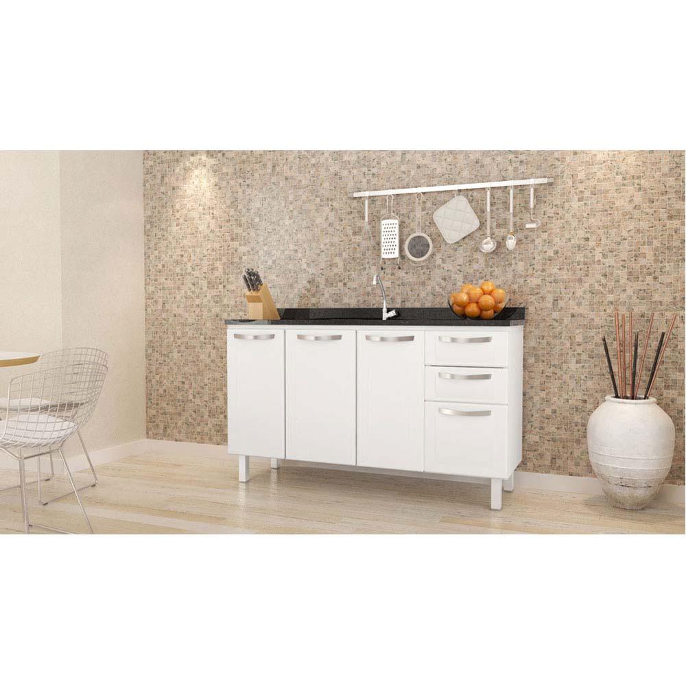 Gabinete De Cozinha A O 144cm Novo Apolo Branco Montado Cozimax