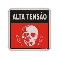 Placa-de-aluminio-12x12cm-Perigo-alta-tensao-preto-e-vermelho-Sinalize