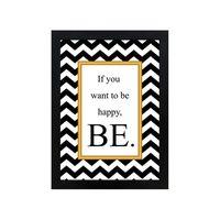 Quadro-decorativo-Be-Happy-28x38cm-preto-Infinity