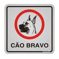 Placa-de-aluminio-Cao-Bravo-Ilustrado-preto-e-vermelho-Sinalize