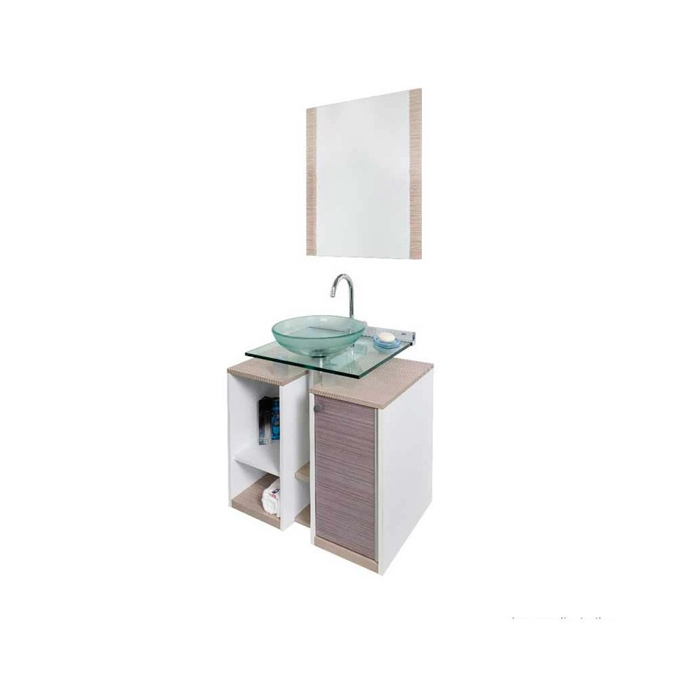Gabinete Para Banheiro Cris Fit 90cm Com Lavatório E Espelho Amadeirado Branco Cris Metal