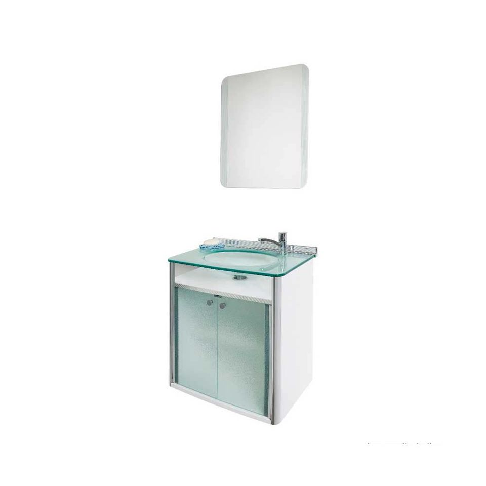 Gabinete Para Banheiro Cris Classic 625cm Com Lavatório Branco E Espelho Cris Metal