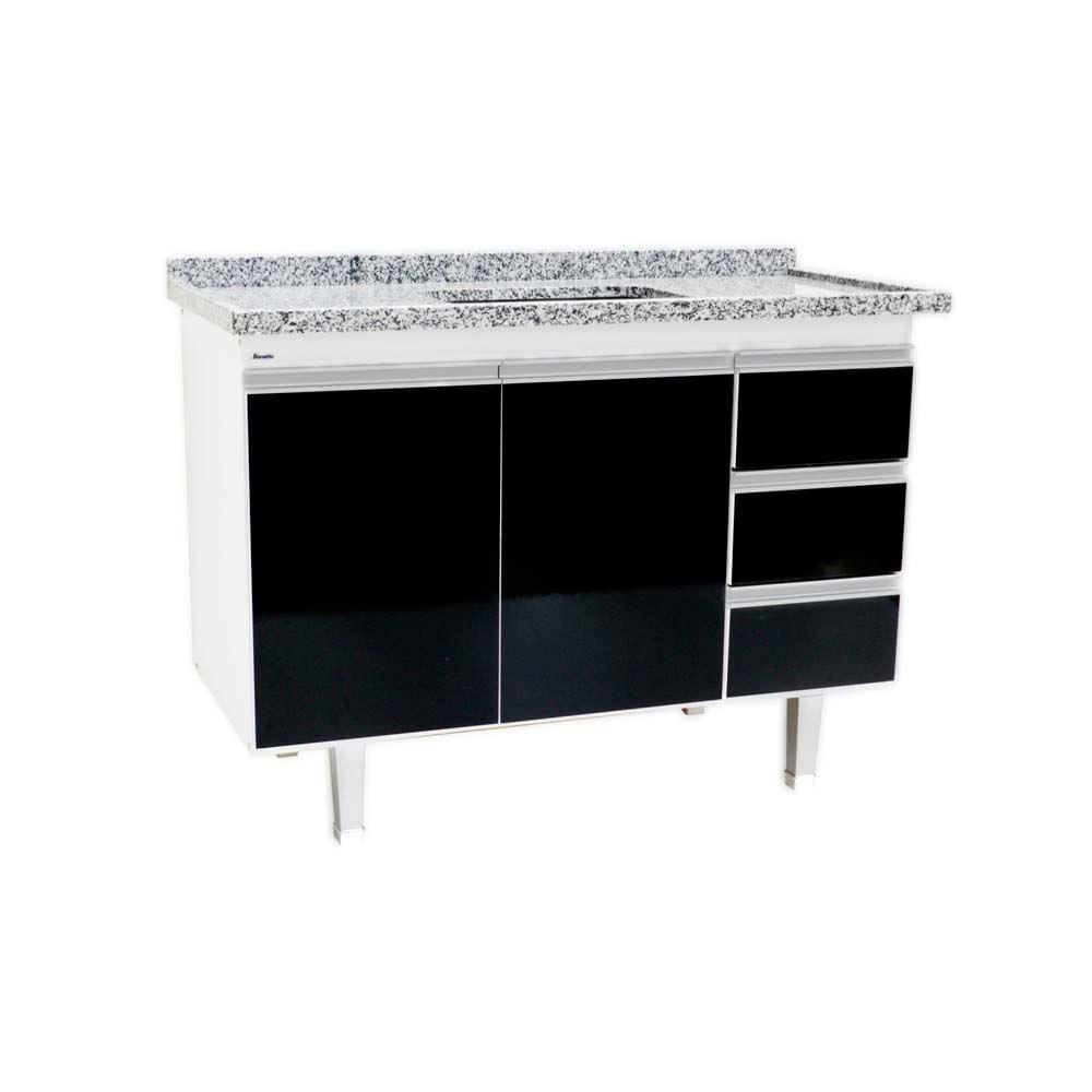 Gabinete De Cozinha Veneza Para Pia 120cm Branco E Preto Bonatto