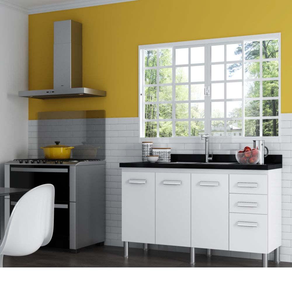 Gabinete Para Cozinha Kaitos 86 5x55x150cm Branco Cod 1355 Cerocha