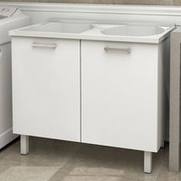 Gabinete-de-lavanderia-com-tanque-Flat-100x61cm-branco-Cozimax