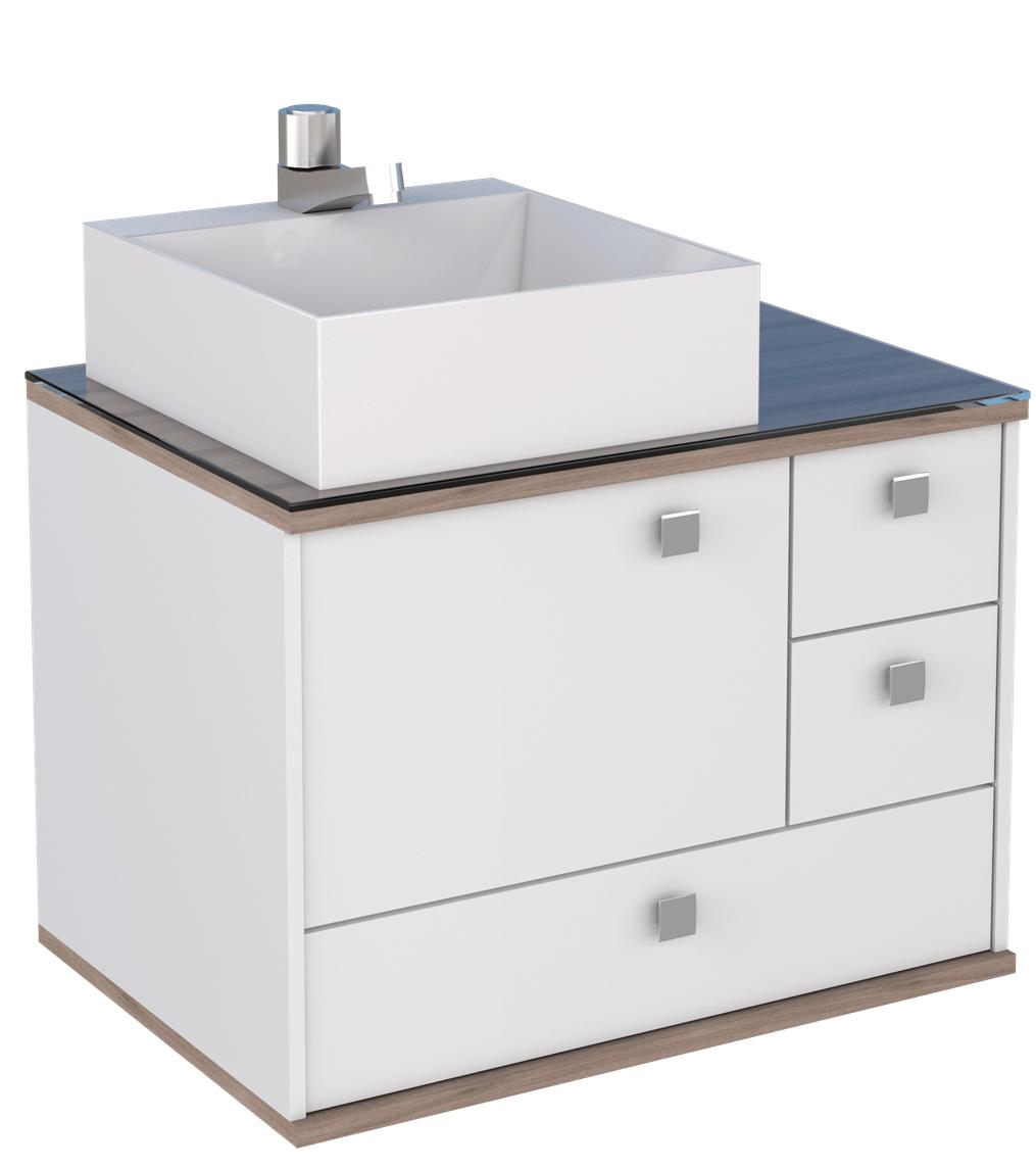 Image of: Gabinete De Banheiro Sem Cuba Moema 42 5x60cm Branco E Tamarindo Cozimax Telhanorte